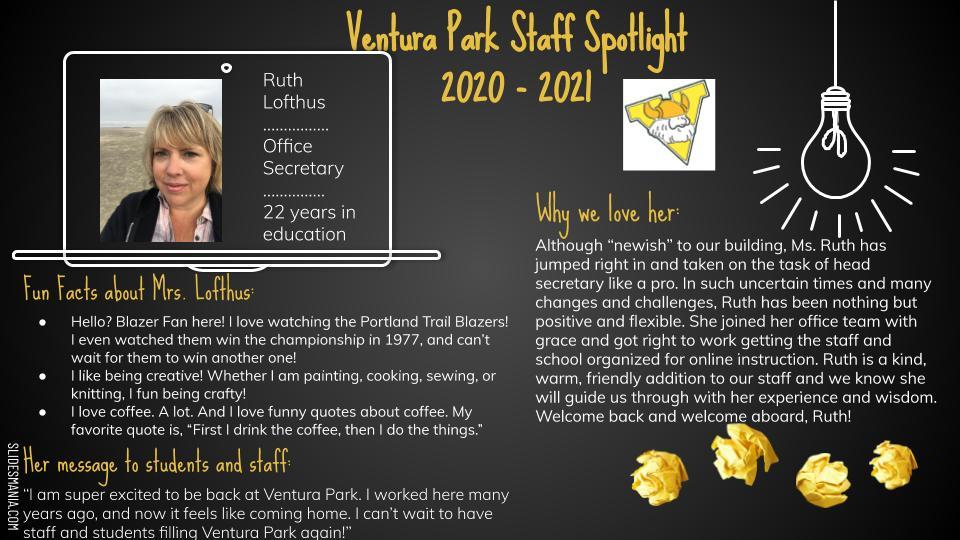 Employee Spotlight Card for Ruth Lofthus