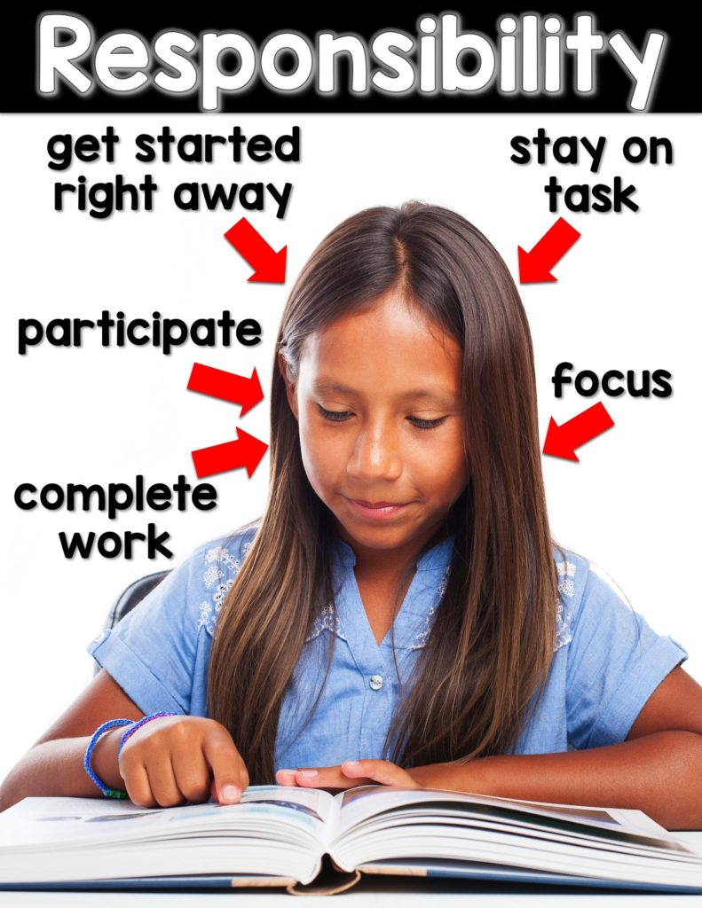 Responsibility: get started right away, stay on task, focus, complete work, participate