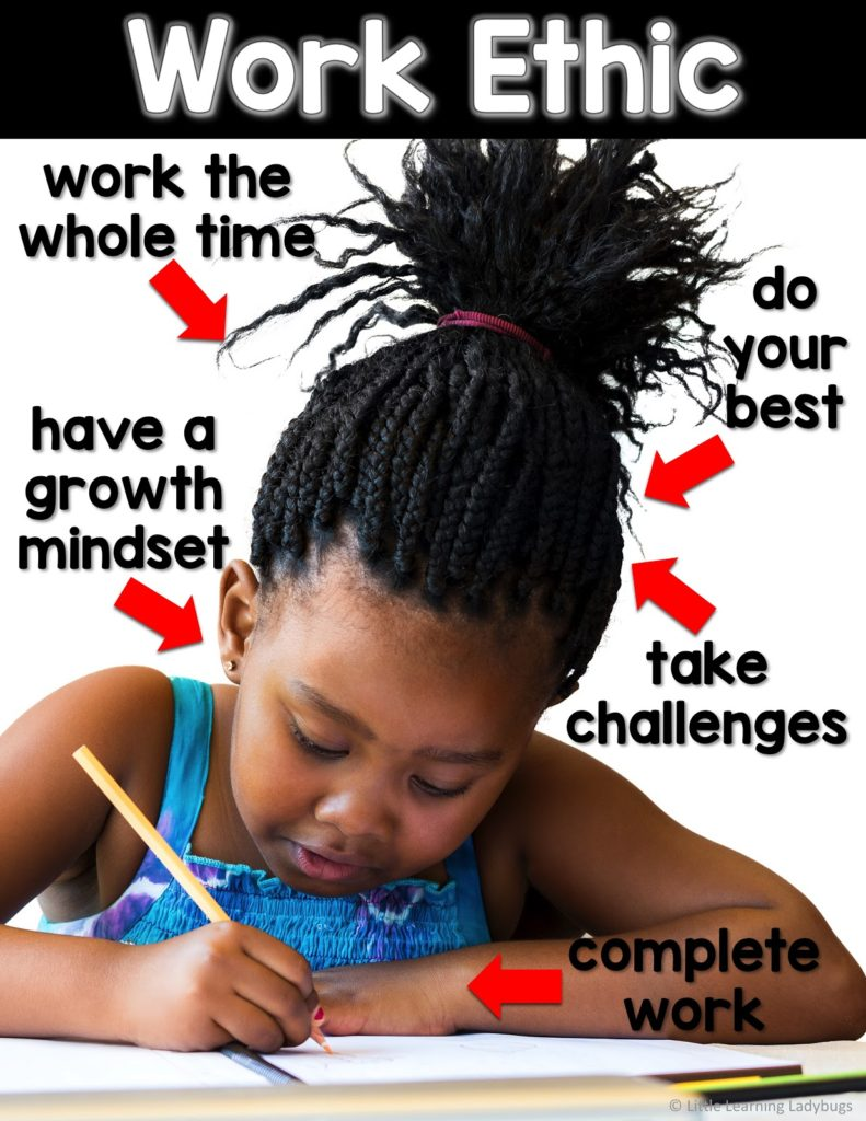 Work Ethic: do your best, take challenges, complete work, have a growth mindset, work the whole time